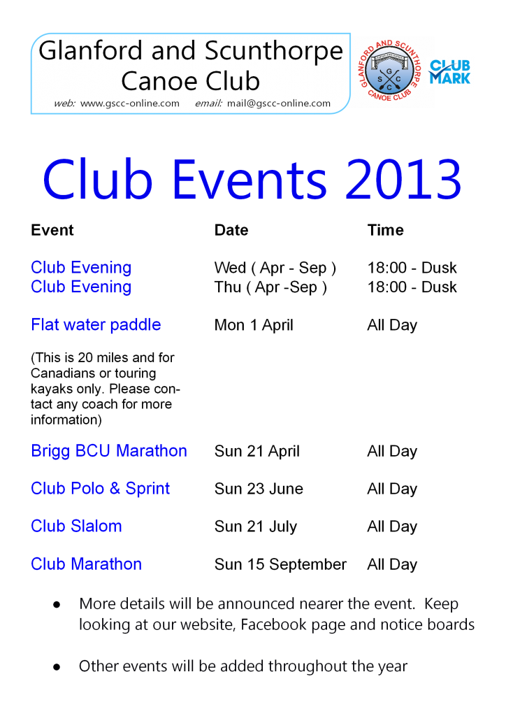 club events 2013